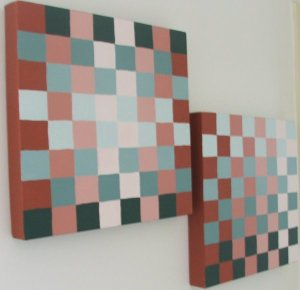 complimentary colours red and green squares in differing tints
