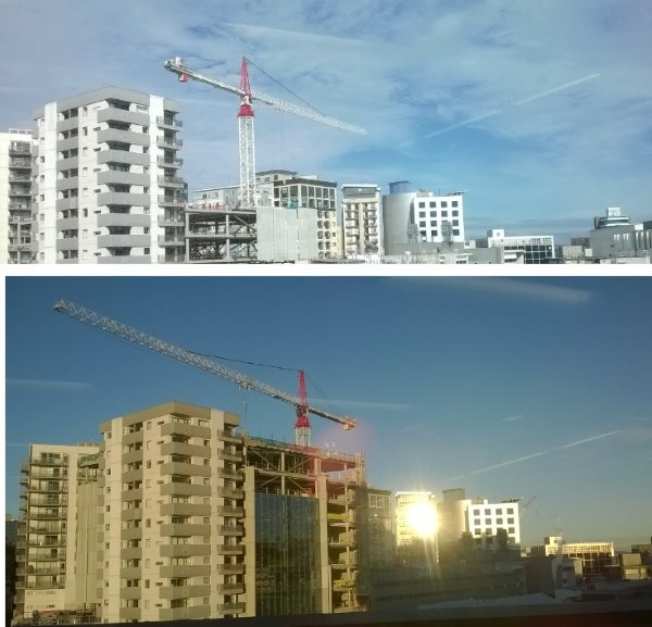 this picture shows a before and after shot of the AUT building over 6 months