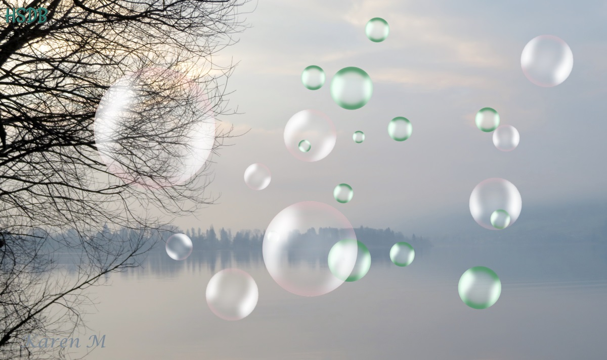 a grey misty lake scene with distant trees reflected in the water. Bubbles have been added to the picture